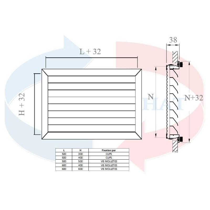 Grille grille reprise porte filtre climatisation for Porte avec grille de ventilation